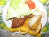 Lettuce, Tomato, Chicken, Sweet Plaintain, Sweet Potato